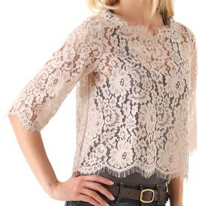 JOIE~Mushroom Elvia Back Button Lace Top~M